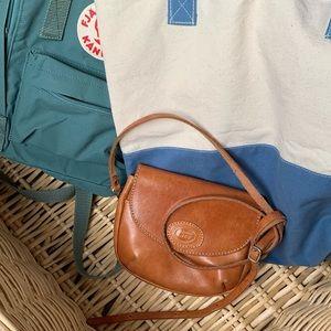 Genuine Leather   Mini Cross Body Bag   Camel